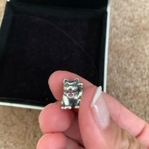 Cat Pandora Charm with Pink Enamel Heart